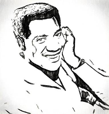 Smiling Mixed Media - Otis Redding Charcoal Sketch by Dan Sproul