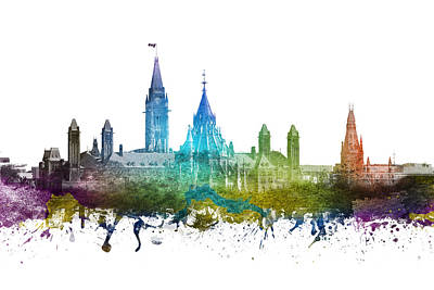 Rainbow Colors Drawing - Ottawa Capital Hill Skyline 01 by Aged Pixel