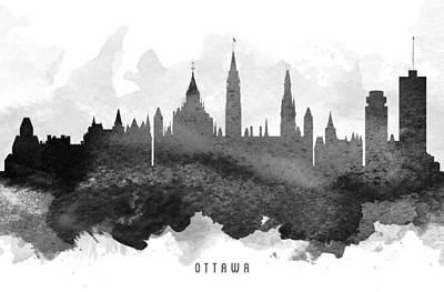 Ottawa Skyline Digital Art - Ottawa Cityscape 11 by Aged Pixel