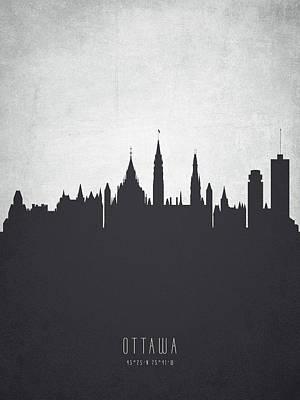 Ottawa Skyline Digital Art - Ottawa Ontario Cityscape 19 by Aged Pixel