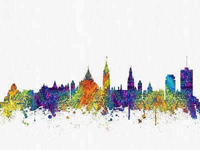 Ottawa Skyline Digital Art - Ottawa Ontario Skyline Color03 by Aged Pixel