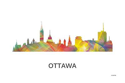 Ottawa Skyline Digital Art - Ottawa Ont.skyline by Marlene Watson