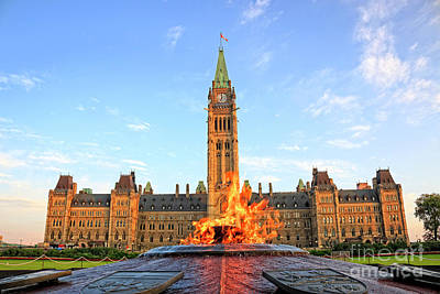 Photograph - Ottawa Parliament Hill With Centennial Flame by Charline Xia