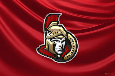 Digital Art - Ottawa Senators - 3 D Badge Over Silk Flag by Serge Averbukh