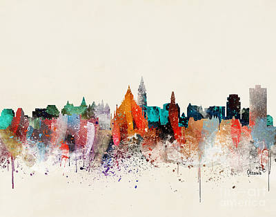 Ottawa Wall Art - Painting - Ottawa Skyline by Bri Buckley