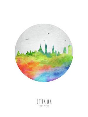 Ottawa Skyline Digital Art - Ottawa Skyline Caonot20 by Aged Pixel