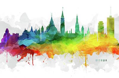 Ottawa Skyline Digital Art - Ottawa Skyline Mmr-caonot05 by Aged Pixel