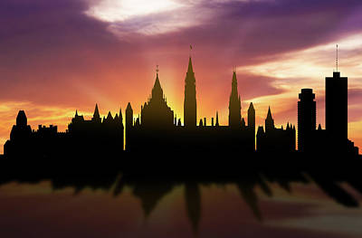 Ottawa Digital Art - Ottawa Skyline Sunset Caonot22 by Aged Pixel