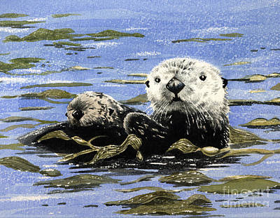 Otter And Pup Art Print