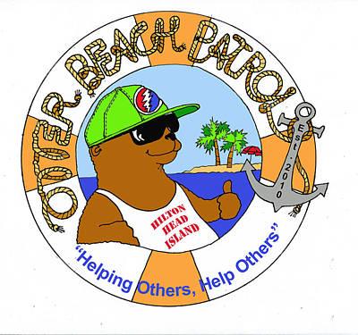 Bouys Digital Art - Otter Beach Patrol by Judi Krew