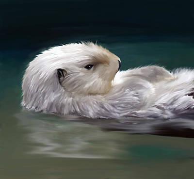 Otter Digital Art - Otter Ease by Denise Warsalla