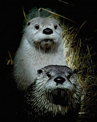 Otter Digital Art - Otter Family Portrait by Ernie Echols