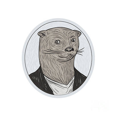 Otter Digital Art - Otter Head Blazer Shirt Oval Drawing by Aloysius Patrimonio