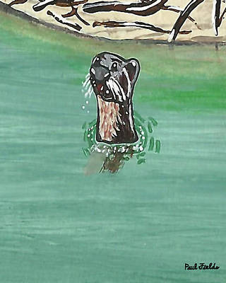 Painting - Otter In Amazon River by Paul Fields