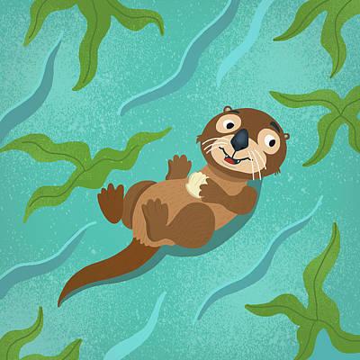 Otter Digital Art - Otter by Nicole Wilson