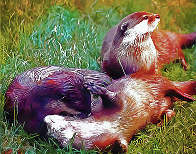 Photograph - Otter Playtime by Dorothy Berry-Lound