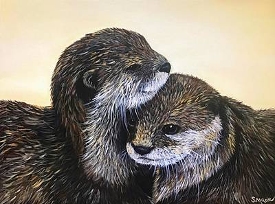 Painting - Otterly In Love by Shannon Marie Schacht
