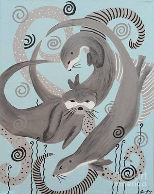 Painting - Otters At Play by Jean Fry