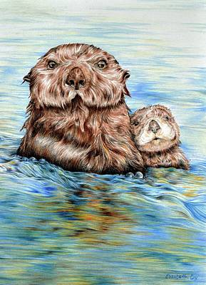 Otter Mixed Media - Otters At Sea by Elizabeth Cox