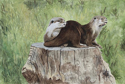 Painting - Otters At Washington Wetland Center by George Levitt