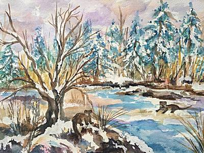 Otters In Winter Woods Original by Ellen Levinson