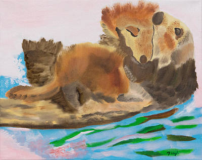 Aquatic Life Painting - Otter Hugs by Meryl Goudey