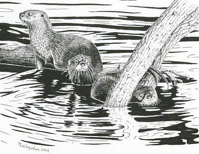 Otters Three Art Print