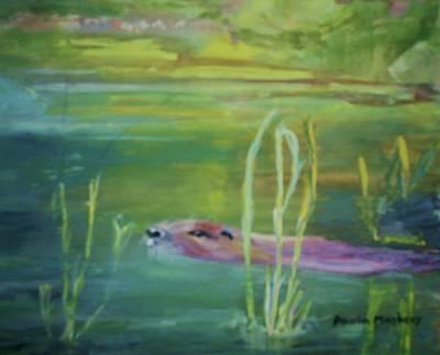 Painting - Otters World by Paula Maybery