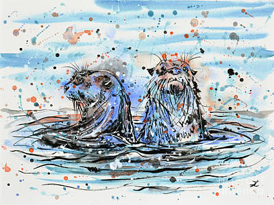 Painting - Otters by Zaira Dzhaubaeva