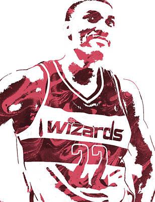 Washington Wizards Wall Art - Mixed Media - Otto Porter Washington Wizards Pixel Art 2 by Joe Hamilton