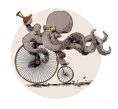 Octopus Digital Art - Otto's Sweet Ride by Brian Kesinger