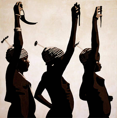 African Art Painting - Oudjila Dancing Girls by Irene Jonker