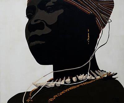 African Painting - Oudjila Girl by Irene Jonker