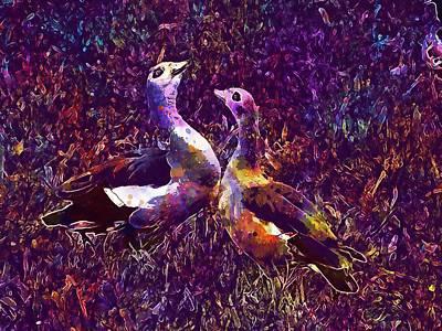 Digital Art - Ouette Of The Nile Couple Pen Bird  by PixBreak Art