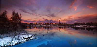 Oulu Moonrise Panorama Art Print
