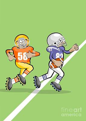 Team Digital Art - Our American Football Star Runs Fast by Daniel Ghioldi