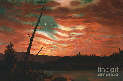 Reflecting Tree Painting - Our Banner In The Sky by Frederic Edwin Church
