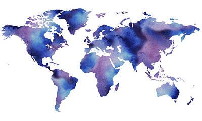 Painting - Our Beautiful Watercolor World Map by Irina Sztukowski