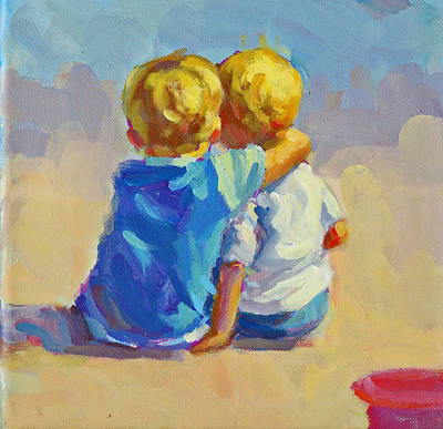 Two Little Boys Painting - Our Boys  by Lucelle Raad