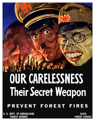 Us Propaganda Painting - Our Carelessness - Their Secret Weapon by War Is Hell Store