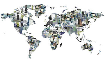 Painting - Our Digital World Map In Watecolor by Irina Sztukowski