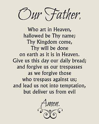 Digital Art - Our Father Prayer - Catholic Lord's Prayer by Classically Printed