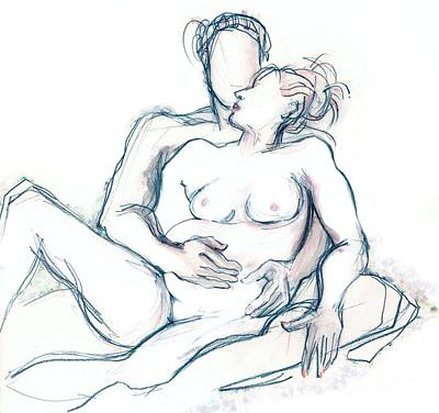 Painting - Our First Baby - Pregnant Couple Nude by Carolyn Weltman
