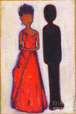 Little Girls98 Painting - Our First Lady In Red Her Husband Is Black by Ricky Sencion