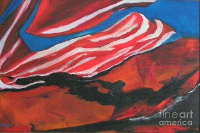 Our Flag Their Oil Art Print by Patrick Mills