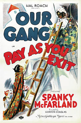 Classic Film Star Mixed Media - Our Gang In Pay As You Exit 1936 by Mountain Dreams
