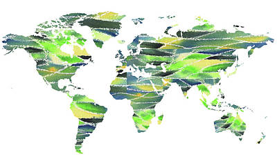 Painting - Our Green World Map Watercolor  by Irina Sztukowski
