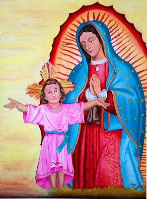 Our Lady Of Guadalupe And Child Original by Jorge Diez