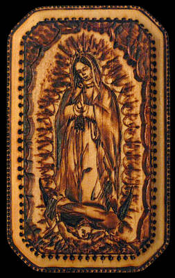 Our Lady Of Guadalupe Pyrograph Original by Melissa Cavaliere