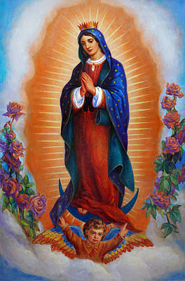 Painting - Our Lady Of Guadalupe - Virgen De Guadalupe by Svitozar Nenyuk
